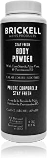 Brickell Men's Products Stay Fresh Body Powder for Men, Natural and Organic Talc-Free, Absorbs Sweat, Keeps Skin Dry, 4 Ounce, Unscented
