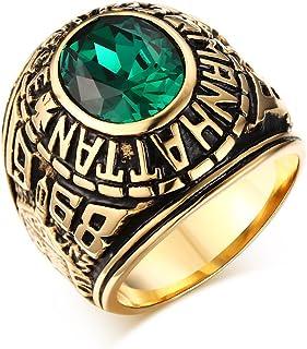 Vnox Anello da uomo della Guardia Nazionale Americana Manhattan, acciaio inossidabile, oro con pietra verde
