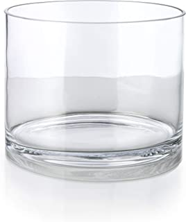 Serene Spaces Living Glass Cylinder Vase, Size: 8in Diameter x 6in High