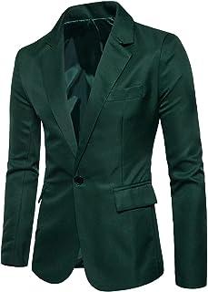 Men's Long Sleeve Peak Lapel Collar One Button Slim Fit Sport Coat Blazer, Deep Green, M/40 = Tag 2XL