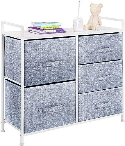 mDesign Wide Dresser Storage Tower - Sturdy Steel Frame, Wood Top, Easy Pull Fabric Bins - Organizer Unit for Child/K...