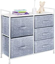 mDesign Wide Dresser Storage Tower - Sturdy Steel Frame, Wood Top, Easy Pull Fabric Bins - Organizer Unit for Child/Kids B...