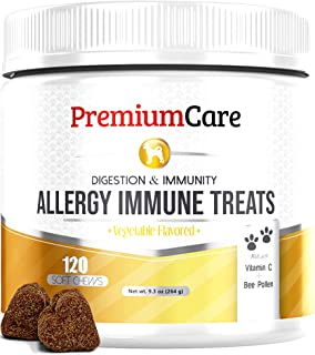 Allergy Relief Immune Supplement For Dogs - Made In USA - Treats Allergies, Skin Itch, Hot Spots And More - Provides Itch Relief, Promotes Skin & Coat, & Improves Digestion - 120 Chew Treats