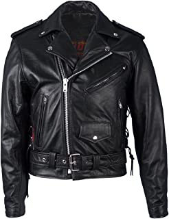 Hot Leathers Classic Motorcycle Jacket with Zip Out Lining (Black, Size 44)