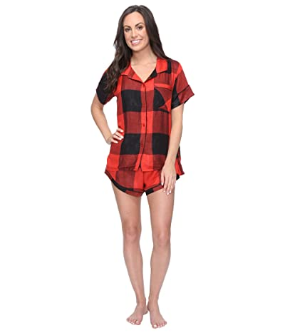 Plush Ultra Soft Short Sleeve Woven Buffalo Plaid PJ Set (Red/Black Buffalo Plaid) Women