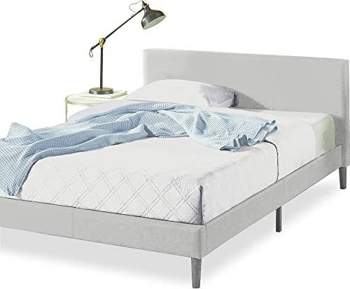 Zinus Nelly Classic Home Queen Bed Frame Fabric Upholstered Platform - Light Grey