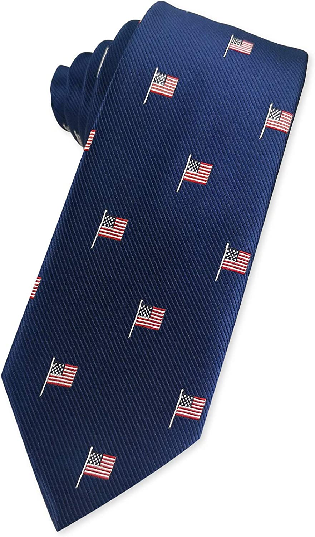 KOOELLE Mens American Flag Necktie Stars & Striped Jacquard Tie for Patriotism