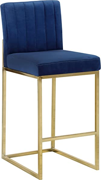 Meridian Furniture 781Navy C Giselle Collection Modern Contemporary Navy Velvet Upholstered Counter Stool With Polished Gold Metal Base 16 W X 19 D X 37 5 H