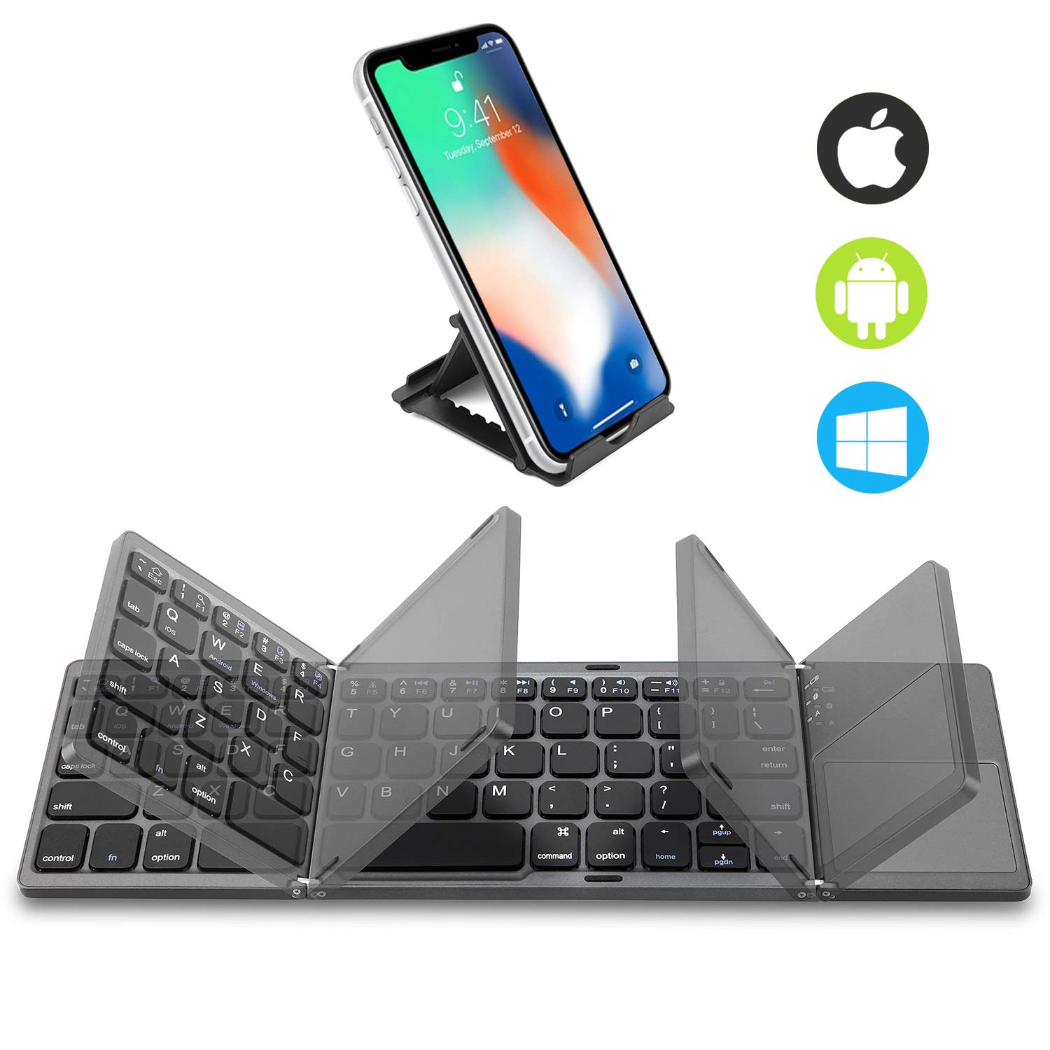 Foldable Bluetooth Keyboard Touchpad Rechargeable