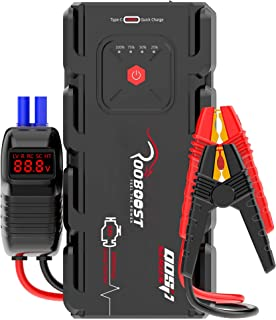Rooboost™ 2000A Peak Extreme Safe Car Jump Starter (Up to 10L Gas or 8L Diesel), USB Quick Charge 3.0, Digital Smart Jumpe...