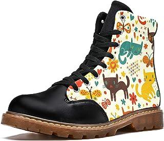 LORVIES Modèle de Fleur Papillon Chat rétro Bottes d'hiver Chaussures Montantes en Toile à Lacets pour Hommes
