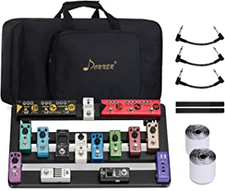 """Donner DB-5 Portable Aluminum Guitar Effect Pedal Board and Waterproof Bag Set, Size 20"""" X 11.4"""" X 4"""", Including 60"""" Pedal..."""