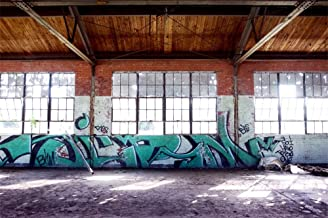 LFEEY 7x5ft Empty Factory Graffiti Photography Backdrop Sunlight Abandoned Old Plant Workshop Poor Handwriting Wall Photo Background Portraits Adults Boys Men Photo Studio Props