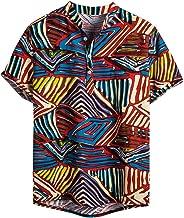 Londony❀♪ Men's Standard-Fit Tropical Hawaiian Shirt Relaxed-Fit Silk/Linen Tropical Hawaiian Shirt Short/Long Sleeve
