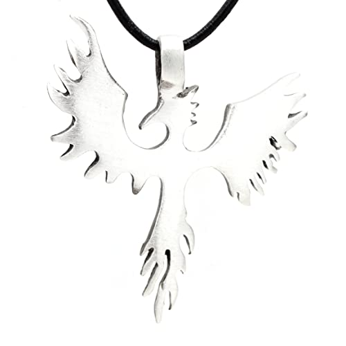 3ddb73e3d753c8 Pewter Phoenix Firebird Rising Pendant on Leather Necklace
