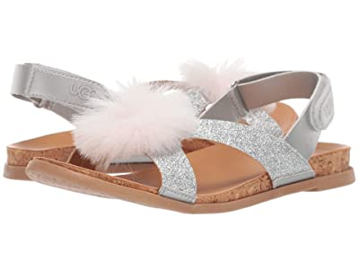UGG Kids Fonda Glitter Pom (Toddler/Little Kid/Big Kid) (Silver) Girls Shoes