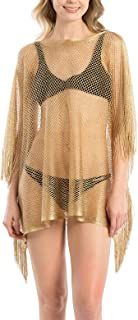 c39d62413e Women s Metallic Net Swimsuits Bikini Beach Swimwear Cover Up Kimono  Cardigan Long   Short with Fringes