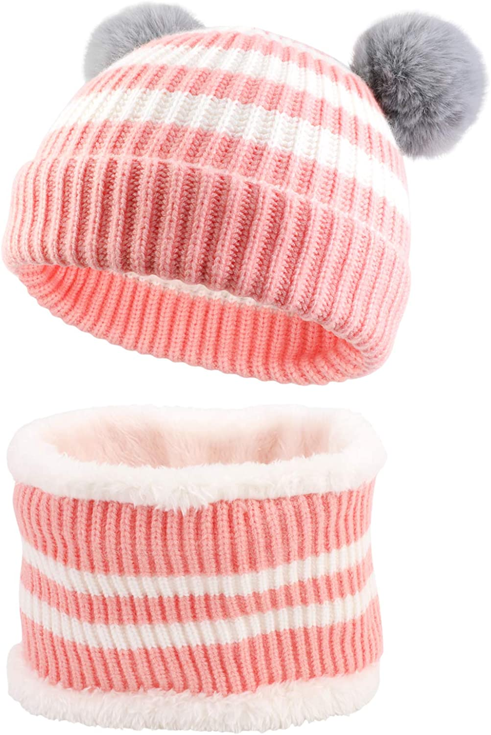 Thermal Fleece Circle Scarf Hat Set Fit for Age of 3~24 Months Baby Boys Girls QKURT Toddler Beanie Hat Neck Warmer Set