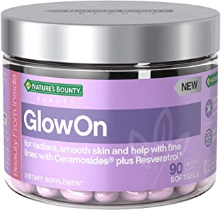 Nature's Bounty GlowOn Beauty Multivitamins, with Ceramosides + Resveratrol, Skin Care Relief, for Radiant, Smooth Skin and Help with Fine Lines*, 90 Softgels