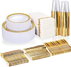 BUCLA 350PCS Gold Plastic Plates with Disposable Plastic Silverware&Hand Napkins, Gold Plastic Dinnerware Lace Design incl...