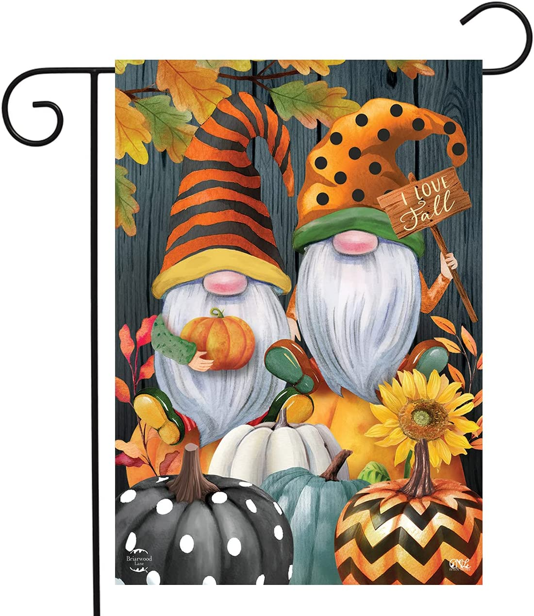 Briarwood Lane Fall Gnomes Humor Garden Flag Autumn Patterned Pumpkins 12.5