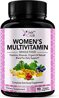 Vegan Women's Daily Multivitamin 50 Plus with Organic WholeFood Based Natural Ingredients, Ginger, Maca, Multi-Vitamin B C...