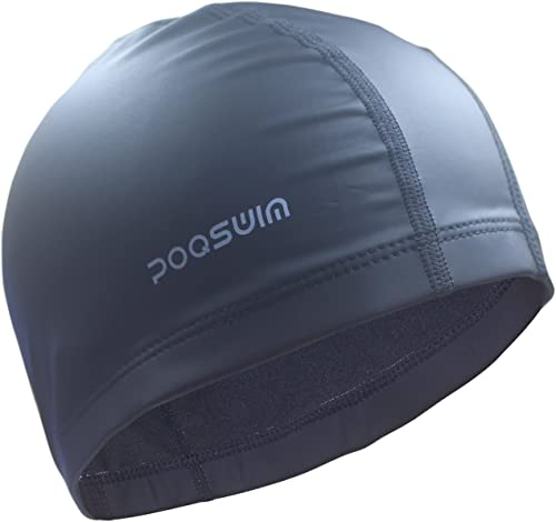 Poqswim Adult Size Swim Cap with PU Coat Can Fit Long Hair Swim Cap