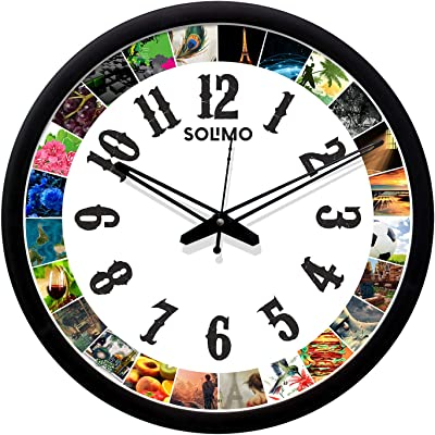 Amazon Brand - Solimo 12-inch Plastic & Glass Wall Clock - worlds of wonder (Silent Movement, Black Frame)