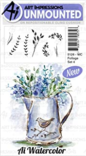 Art Impressions Watercolor Cling Rubber Stamps-Foliage Set 4