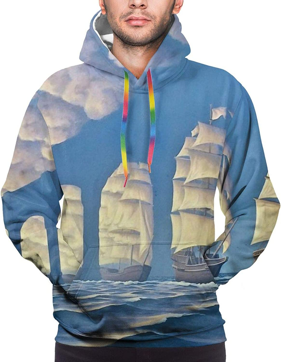 Clouds Sailboat Bridge Optical 67% OFF of fixed price Sweatshirt Men's Illusion Max 48% OFF Hooded