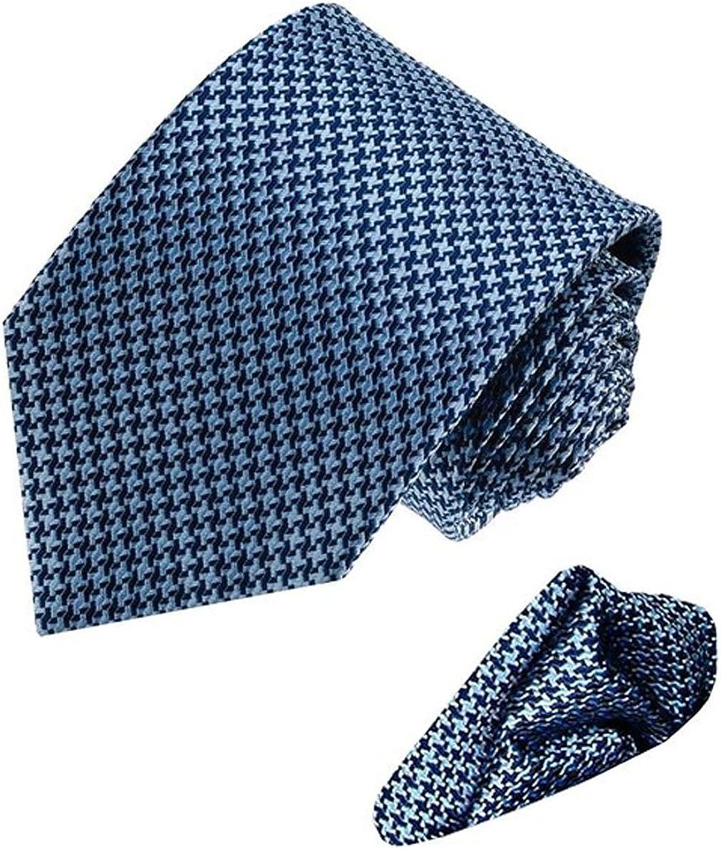 LORENZO CANA Italian 100% Silk Tie Hanky Set Blue Lightblue Patterned 8449501