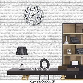 SCOCICI 10 Inch Wall Decorative Clock Science Chemistry Geometry Math Nerd Geek Genius Themed Design Artwork Living Room Modern Clock, Silent Non Ticking Round Digital Wall Clock