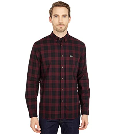 Lacoste Long Sleeve Casual Checked Pattern Chest Pocket Shirt (Black/Vine Chine) Men