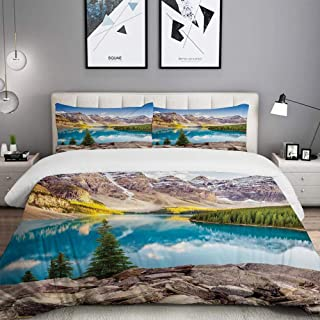 LUNASVT 3PC Bedding Set Idyllic View of Moraine Lake at Sunset in Canadian Rocky Mountain Range Picture 1 Duvet Cover with 2 Matching Pillowcases Apartment Bedroom Decor Full/Queen