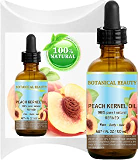 PEACH KERNEL OIL. 100% Pure / Natural / Undiluted / Refined Cold Pressed Carrier Oil for Skin, Hair, Massage and Nail Care. 4 Fl. oz-120 ml.