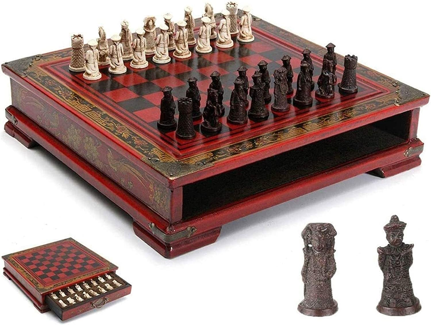 Weekly update XYWCHK Jacksonville Mall Magnetic Travel Wooden Chess Ligh for Set Pieces Storage