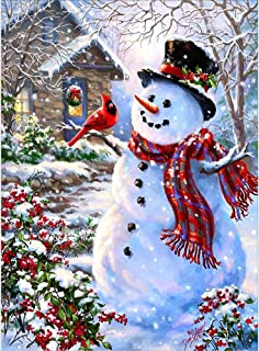 MXJSUA 5D DIY Diamond Painting by Number Kit Round Dril Beads Crystal Rhinestone Embroidery Cross Stitch Picture Supplies Arts Craft Wall Sticker Decor Lantern Snowman 12x16In