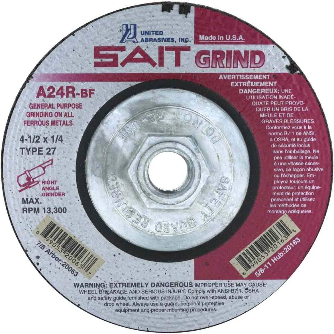 United Abrasives-SAIT 20005 Type 27 3-Inch x 1//4-Inch x 3//8-Inch Grade A24R Long Life Depressed Center Grinding Wheels 25-Pack