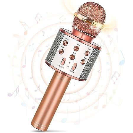 Tesoyzii Microphone sans Fil Bluetooth pour Enfants, Microphone Karaoké pour Android/iPhone/iPad/Sony/PC- Meilleurs Cadeaux pour Les Enfants