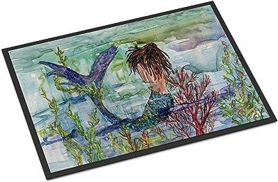"Caroline's Treasures Brunette Mermaid Coral Fantasy Indoor or Outdoor Mat 18x27 8973MAT, 8973MAT, Multicolor, 18"" H x 27"" W"