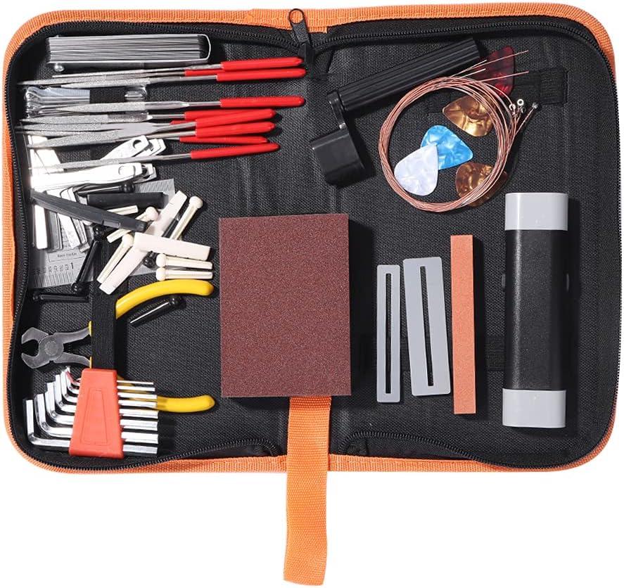 Springlinges Kit de herramientas de mantenimiento de reparación de guitarra, 62 piezas, acero inoxidable Luthier Guitarras cuerda reparación mantenimiento herramienta kit con bolsa de almacenamiento