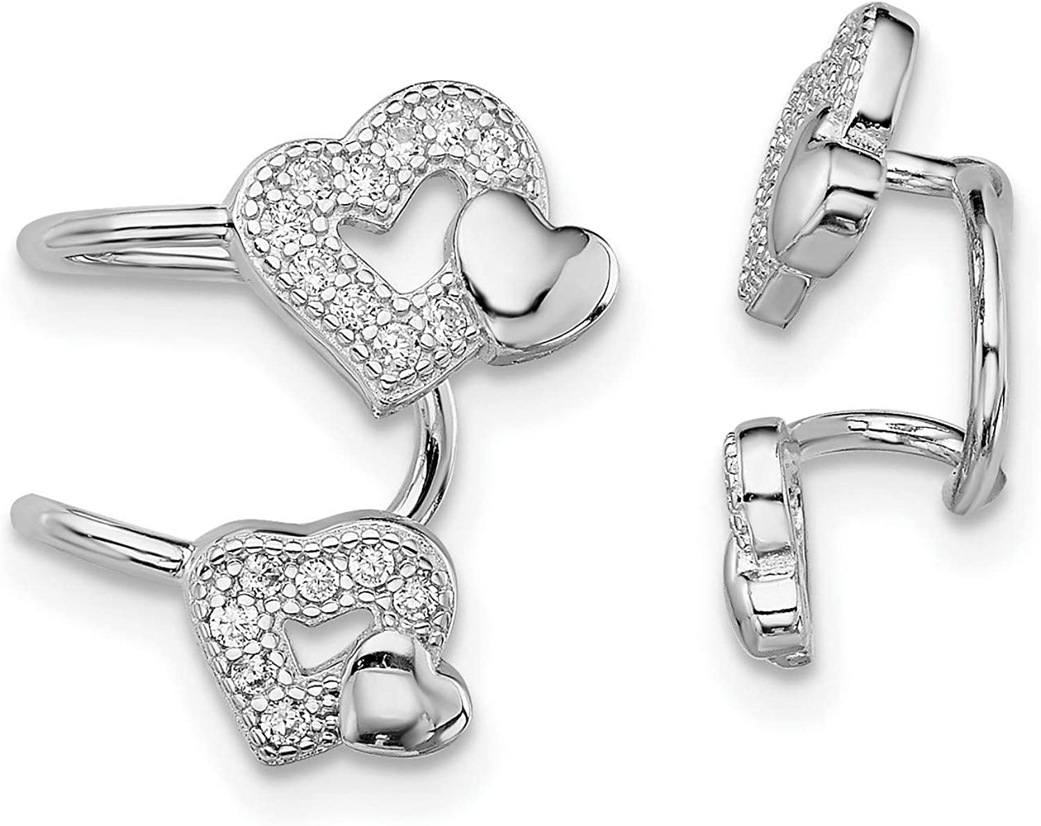 Sterling Mesa Mall Silver Ranking TOP10 CZ Double Heart 15x10 Right Earrings mm Cuff