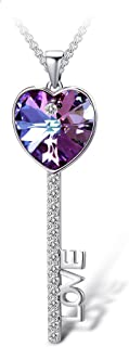 T400 Blue Purple Heart Crystal Key Pendant Necklace Birthday Gift for Women Girls