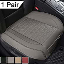 Black Panther 1 Pair Luxury PU Leather Car Seat Covers Protectors for Front Seat Bottoms,Compatible with 90% Vehicles (Sedan SUV Truck Van MPV) - Gray,Triangle Pattern (21.26×20.86 Inches)