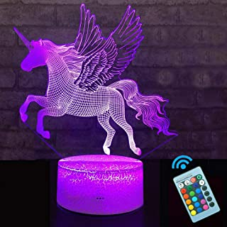 Unicorn Night Light 3D Optical Illusion Bedside Lamps with Remote 16 Colors Changing Best Gift Idea for Kids Room Décor or Birthday Gifts for Girls Women (1)