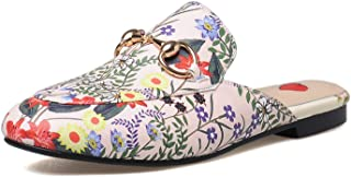 MAVIRS Mules for Women, Women Leather Slip on Mule Flats, Embroidery Backless Loafers Slippers Shoes