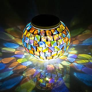 Color Changing Solar Powered Glass Ball Garden Lights, Aukora Solar Table Lights Waterproof Solar Led Night Light for Patio Garden Halloween Christmas Outdoor Decoration, Ideal Gift(Mosaic Glass)