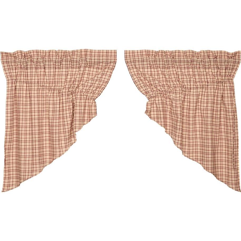VHC Brands Rustic & Lodge Kitchen Curtains Durango Rod Pocket Cotton Drawstring Ties Plaid Prairie Swag Pair, Creme White