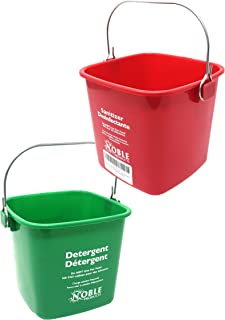 Small Red and Green, Detergent and Sanitizing Bucket - 3 Quart Cleaning Pail - Set of 2 Square Containers