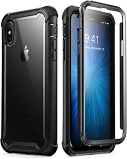 i-Blason Ares Designed for iPhone Xs Case, iPhone X Case, Full-Body Rugged Clear Bumper Case with Built-in Screen Protector for iPhone Xs 5.8 Inch (2018 Release) (Black)